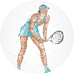 Abstract Tennis Player Of Colorful Circles Sticker