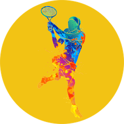 Abstract Tennis Player With A Racket Sticker