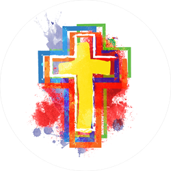Abstract Watercolor Christian Cross Sticker