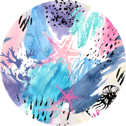 Abstract Watercolor Pattern Starfish Sticker