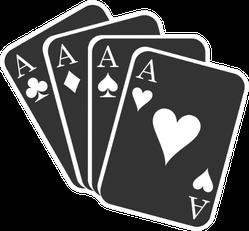 Ace Cards In Black Cartoon Sticker