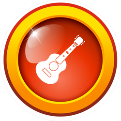 Acoustic Guitar Icon Button Sticker