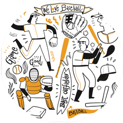 Activities Of People Who Are Playing Baseball Illustrations Sticker