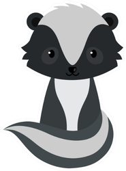 Adorable Cartoon Sitting Skunk Sticker
