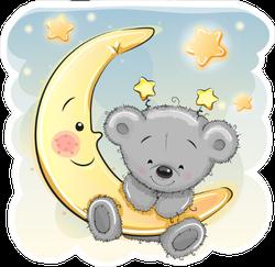 Adorable Cartoon Teddy Bear On The Moon Sticker
