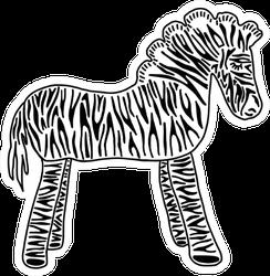 Adorable Cartoon Zebra Side View Sticker