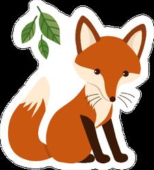 Adorable Fox Kit under Leaves Sticker