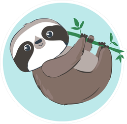 Adorable Hanging Sloth Sticker