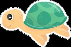 Adorable Little Swimming Turtle Sticker