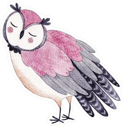 Adorable Pink Watercolor Owl Sticker