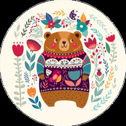 Adorable Sweater Bear In Flowers Sticker