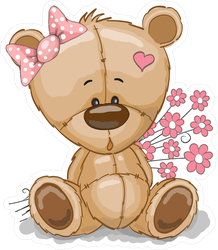 Adorable Teddy Bear Girl With Pink Flowers Sticker