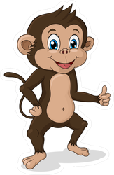 Adorable Thumbs Up Monkey Sticker