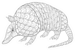 Adult Coloring Page Armadillo Sticker