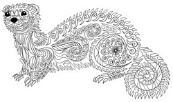 Adult Coloring Page Ferret Sticker