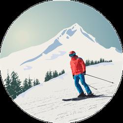 Advanced Skier Slides Down The Mountain Sticker