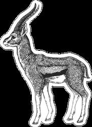 African Deer Illustration Sticker