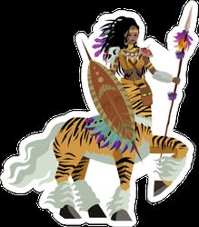 African Tiger Female Centaur Huntress Sticker