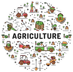 Agriculture And Landscaping Line Art Icons Sticker