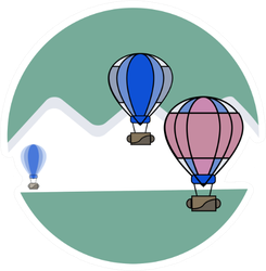 Air Balloon Background Of Icebergs Sticker