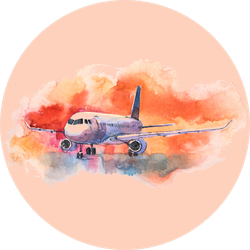 Aircraft. Airplane Flying In The Cloudy Sky. Watercolor Sticker