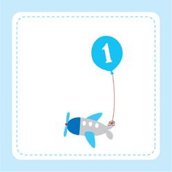 Airplane First Birthday Balloon Sticker