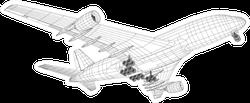 Airplane In Wire-frame Style Sketch Sticker