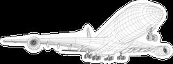 Airplane In Wire-frame Style Sticker