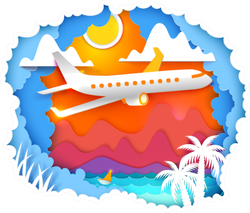Airplane Is Flying Over Tropics Sticker