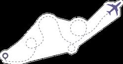 Airplane Sky Route Sticker