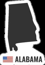 Alabama Map American Flag Illustration Sticker