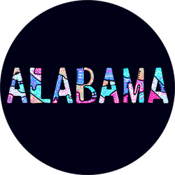 Alabama. Multicolor Doodle Lettering Sticker