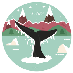 Alaska Landscape With Whale Tail And Scenery Sticker