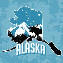 Alaska Moose and Stars Sticker
