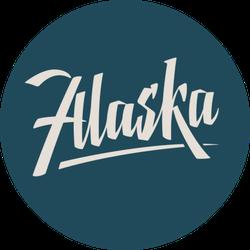 Alaska Usa State Lettering On Blue Sticker