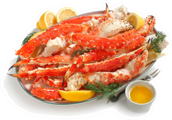 Alaskan King Crab Legs On Platter With Butter Sticker