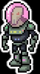 Alien in Space Suit Pixel Art Sticker