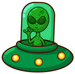 Alien In Spaceship Cartoon Sticker