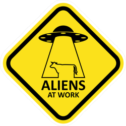 Aliens at Work Sticker