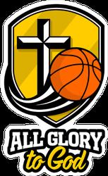 All Glory To God Basketball Shield Icon Sticker