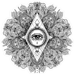 All Seeing Eye Ornate Round Mandala Pattern Sticker