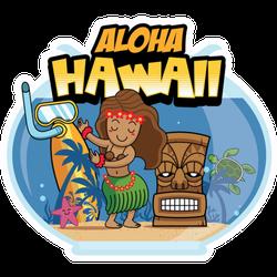 Aloha Hawaii Cartoon Sticker