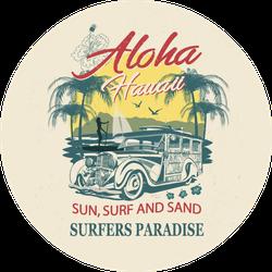 Aloha Hawaii Sun Surf and Sand Sticker