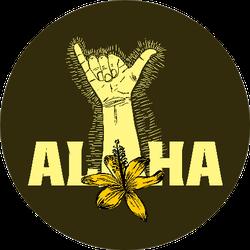 Aloha Shaka Surfer Sign With Flower Sticker