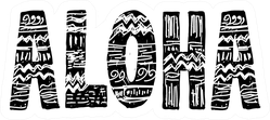 Aloha Surfing Lettering Sticker