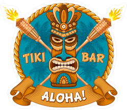 Aloha Tiki Bar Tribal Wooden Mask Sticker