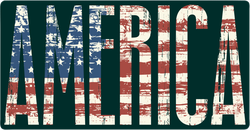 America Text with USA Flag Sticker