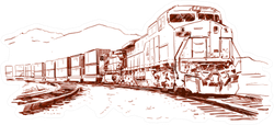 American Cargo Train. Hand Drawn Sketch Sticker