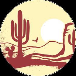American Desert With Cactuses And Sun Arizona Sticker