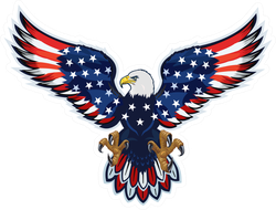 American Eagle With USA Flag Wings Sticker